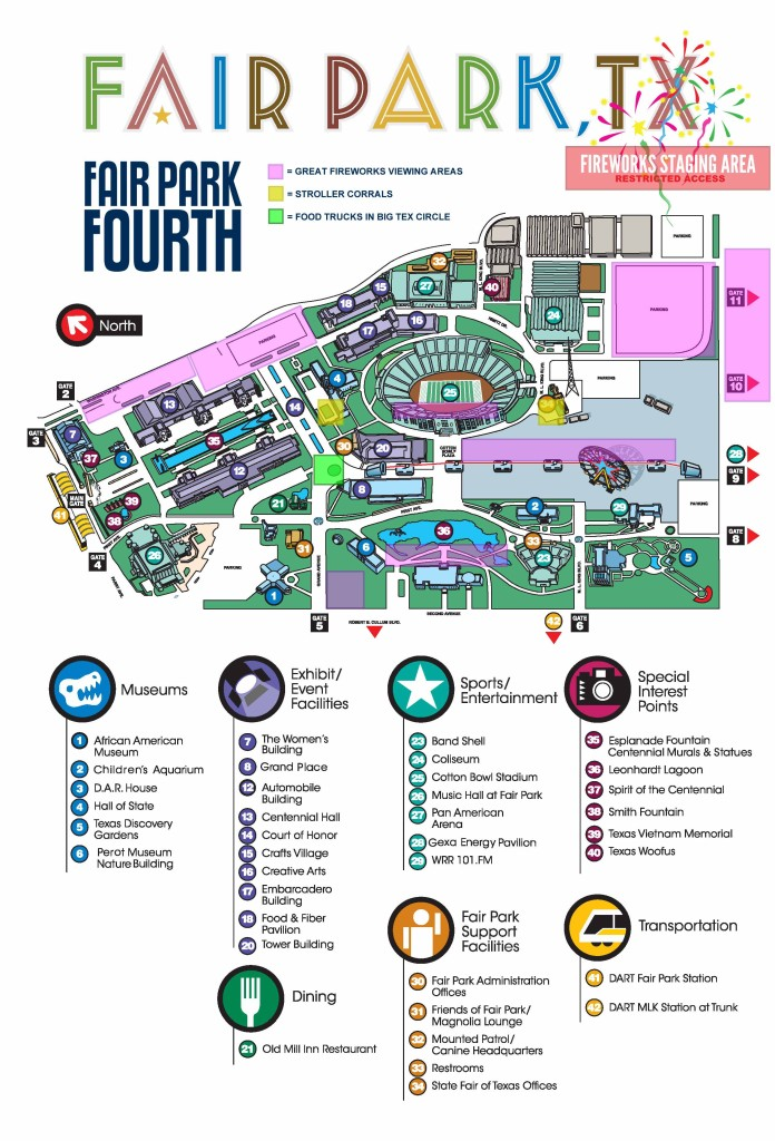 Fair Park Map Fair Park Fourth: Schedule and Information   Dallas City News Fair Park Map