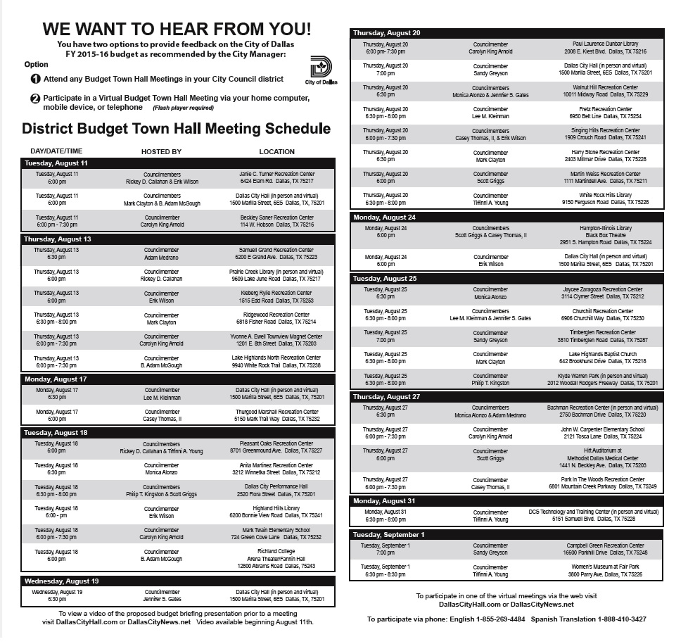 City of Dallas Budget Town Hall meeting schedule Dallas City News – Meeting Schedule