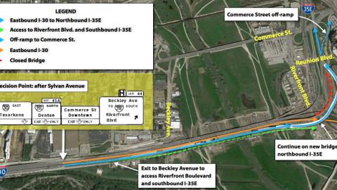 TxDOT Horseshoe Project affecting traffic flow on eastbound I-30