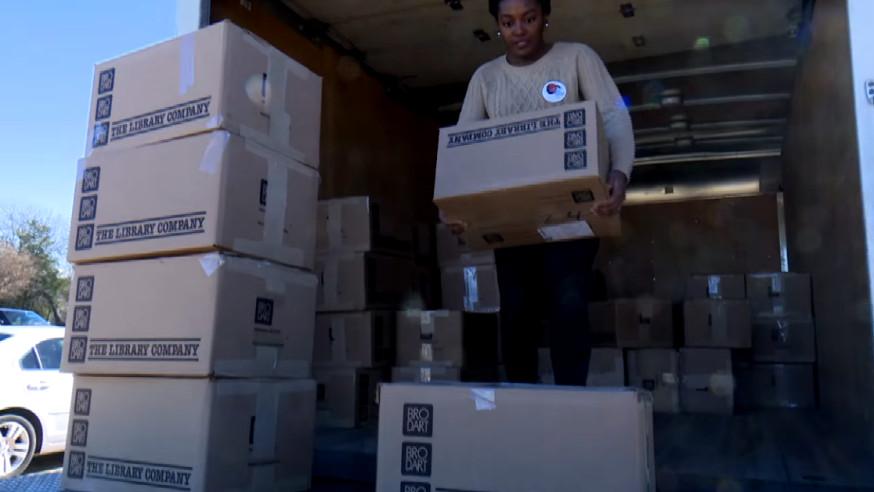 VIDEO: Dallas Public Library donates 5,000+ books to tornado damaged school