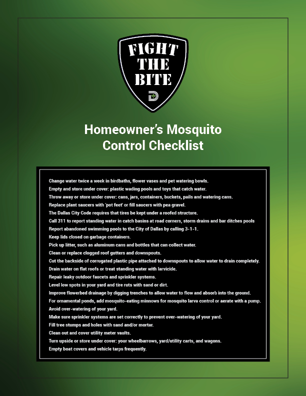 Fight The Bite - Mosquito Control Checklist