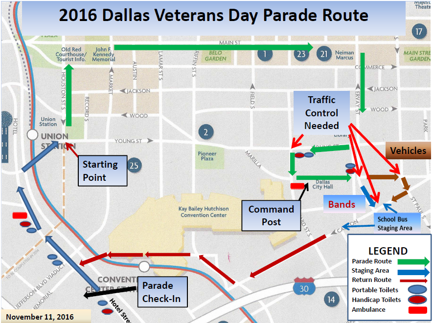 Greater Dallas Map.Dallas Veterans Day Parade Ceremony Set For 11 A M Friday Nov 11