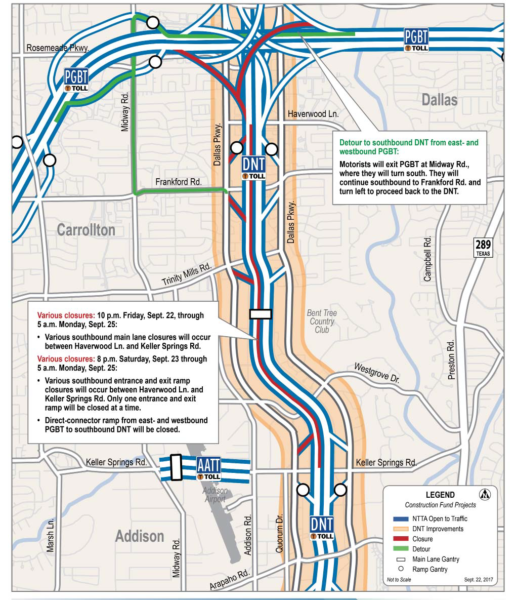 Dallas North Tollway construction closures set for this